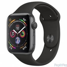 Apple Watch Series 4, 44 мм, корпус из алюминия цвета «серый космос», спортивный ремешок черного цвета [MU6D2RU/A]