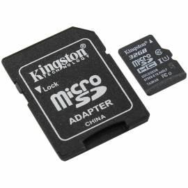 Карта памяти Kingston MicroSDHC 32GB UHS-I Canvas, Class 10 скорость чтения 80Мб/сек(с адаптером SD)