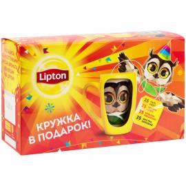 """Подарочный набор чая Lipton """"Black tea with mug fstv"""", 4 вкуса, 100 пакетиков + кружка, картон. кор."""