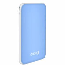Внешний аккумулятор Oxion PowerBank UltraThin 6000mAh, Li-pol, покр. soft-touch, индикатор, голубой