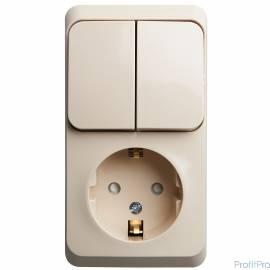 Schneider-electric BPA16-202K ЭТЮД О/У БЛОК: РОЗЕТКА с зазем. со шт. + ВЫКЛЮЧАТЕЛЬ 2-клавиш., КРЕМОВЫЙ, Россия