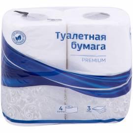 """Бумага туалетная OfficeClean """"Premium"""" 3-х слойн., 4шт., тиснение, белая"""