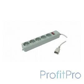 PC PET Сетевой удлинитель AP01006-E-GR 1.8м (5 розеток, IEC 320, EURO/RUS), серый 619888
