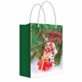 """Пакет подарочный новогодний 11*13,5*6см Русский дизайн """"Снеговик с подарком"""", ламинированный"""