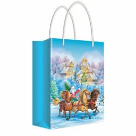 """Пакет подарочный новогодний 11*13,5*6см Русский дизайн """"Дед Мороз на санях с лошадьми"""", ламинир."""