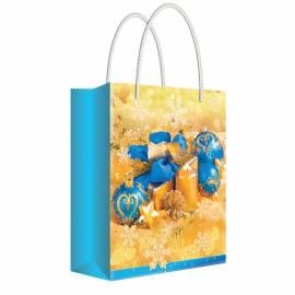 """Пакет подарочный новогодний 11*13,5*6см Русский дизайн """"Новогодние игрушки в золоте """", ламинир."""