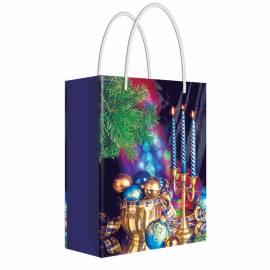 """Пакет подарочный новогодний 11*13,5*6см Русский дизайн """"Новогодние свечи """", ламинированный"""