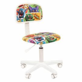 Кресло детское Chairman Kids 101, PL белый, ткань велюр, монстры, рег. по высоте, без подлокотников