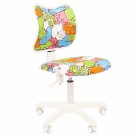 Кресло детское Chairman Kids 102, PL белый, ткань велюр, котики, мех постоянной под. спины, без подл