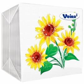 """Салфетки бумажные Veiro 1 слойн., 24*24см, белые, с рисунком """"Желтый цветок"""", 100шт."""