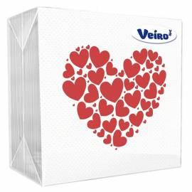 """Салфетки бумажные Veiro, 1 слойн., 24*24см, белые, рисунок """"Сердечки"""", 50шт."""