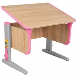 Стол-парта регул. ДЭМИ СУТ.41, 750*550*530-815мм, дуб сонома/каркас серый/розовый пластик