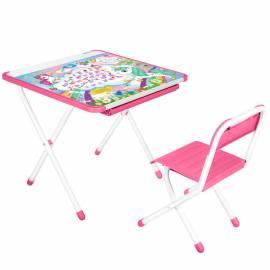 """Набор складной мебели №2-02 (стол + стул) ДЭМИ """"Единорог"""", розовый пластик, 2 группа"""