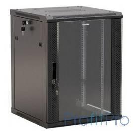 """Hyperline TWB-1545-GP-RAL9004 Шкаф настенный 19-дюймовый (19""""), 15U, 775x 600х 450мм, стеклянная дверь с перфорацией по бокам,"""