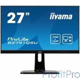 """IIYAMA 27"""" B2791QSU-B1 черный TN+film LED 2560x1440 1ms 16:9 1000:1 350cd 170гр/160гр DVI HDMI DisplayPort 2Wx2"""