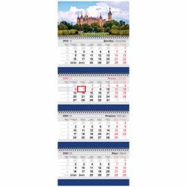 """Календарь квартальный 4 бл. на 4 гр. OfficeSpace Business """"Дворцовый сад"""", с бегунком, 2020г."""