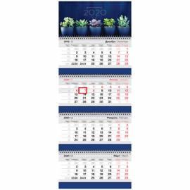 """Календарь квартальный 4 бл. на 4 гр. OfficeSpace Business """"Cactus"""", с бегунком, 2020г."""