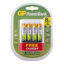 Зарядное устройство GP PBU411 + 4шт акк. AA (HR06) 2600mAh + сетевой адаптер USB