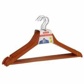 Вешалка-плечики Office Clean, набор 5шт., деревянные, с перекладиной, 45см, цвет вишня