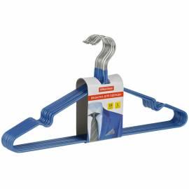 Вешалка-плечики Office Clean, набор 10шт., металл/ПВХ, 45см, цвет синий