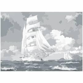 "Холст на картоне с контуром Сонет ""Парусник в море"", 30*40см"
