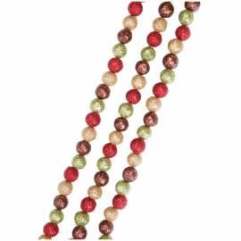 Бусы-шарики из пенополистирола 15мм, 1,7м, красный/кремовый/мягкий зеленый/бронза