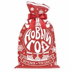 """Мешок для упаковки подарков с лентой """"Новый Год"""", красный, 30*20см"""