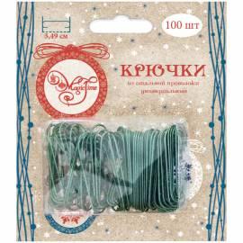 Набор крючков-подвесов для новогодних украшений, 100шт., 3,5см, зеленый, блистер