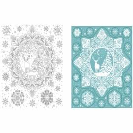 """Новогоднее оконное украшение """"Снежный лес"""", с радужным глиттером, с раскраской, 17,5*15,5см"""