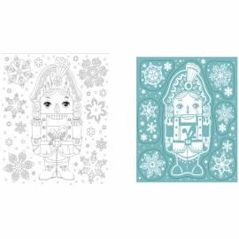 """Новогоднее оконное украшение """"Снежный Щелкунчик"""", с радужным глиттером, с раскраской, 17,5*15,5см"""