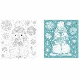 """Новогоднее оконное украшение """"Снежный Пингвин"""", с радужным глиттером, с раскраской, 17,5*15,5см"""