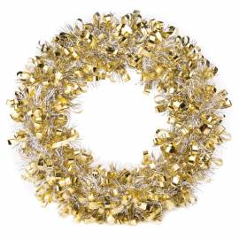 Венок новогодний, золотисто-серебристый, диаметр 28см