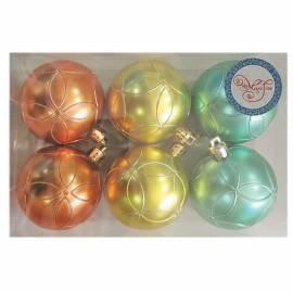 Набор пластиковых шаров 6шт, 60мм, оранжевый/золото/бирюза, пластиковая упаковка