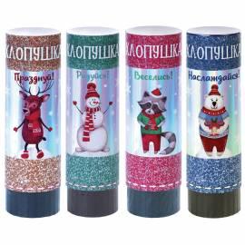 """Хлопушка пружинная """"Новогодние зверюшки и Снеговики"""", 15см, разноцветное конфетти в форме звезд"""