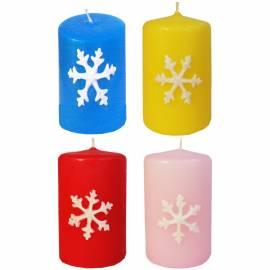 Свеча с новогодней снежинкой, 40*60мм, ассорти