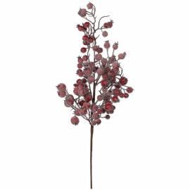 Декоративная веточка с красными ягодами заснеженная 64см