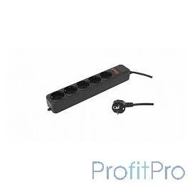 PC PET Сетевой удлинитель AP01006-5-BK 5м (5 розеток, EURO, EURO/RUS), черный 619895