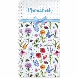 """Телефонная книга А5, 80л., на гребне """"Цветы"""", с высечкой"""