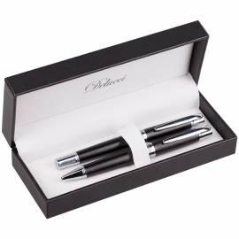 Набор Delucci (шариковая ручка+роллер), черные, корпус черный/хром, подар. уп.