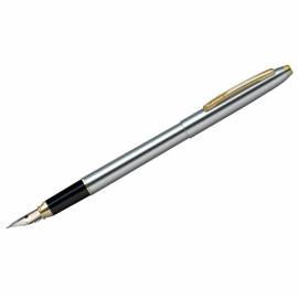 "Ручка перьевая ""Golden Prestige"" синяя, 0,8мм, корпус хром/золото, пластик.футляр"