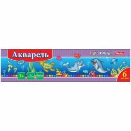 """Акварель """"Дельфины"""" медовая 06 цветов, полусухая, без кисти, карт. упак."""