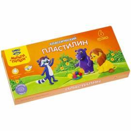 """Пластилин """"Приключения Енота"""" 06 цветов, 120г, со стеком, картон"""