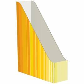 Накопитель-лоток архивный Атлант (микрогофрокартон), ширина 75мм, желтый с полосками