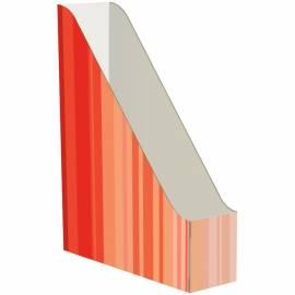 Накопитель-лоток архивный Атлант (микрогофрокартон), ширина 75мм, красный с полосками