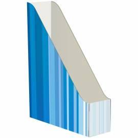 Накопитель-лоток архивный Атлант (микрогофрокартон), ширина 75мм, синий с полосками
