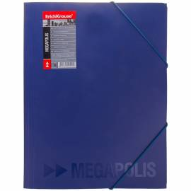 """Папка на резинке 12 отделений Erich Krause """"Megapolis"""", А4, 650мкм, синяя"""