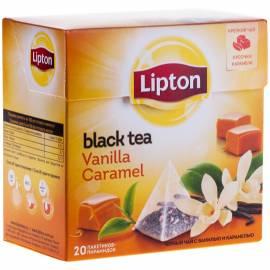 """Чай Lipton """"Vanilla Caramel"""", черный с ванилью и карамел., 20 пакетиков-пирамидок по 1,7г"""