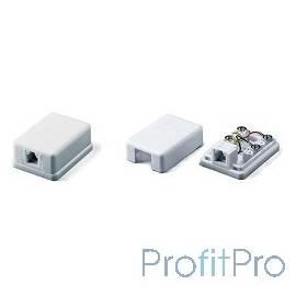 Hyperline SB-1-6P4C-C2-WH Розетка телефонная RJ-12(6P4C), одинарная, внешняя, белая