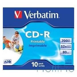 Verbatim Диски CD-R Printable Surface, 700Mb 80 min 52-x (Jewel Case, 10шт.) [43325]
