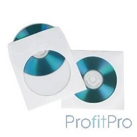 HAMA Конверты для CD/DVD бумажные с прозрачным окошком 100шт (белый) H-62672
